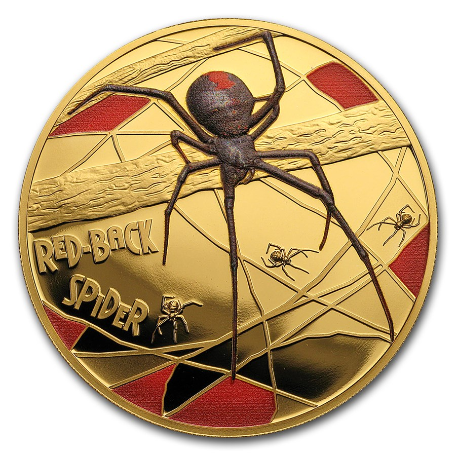2018 Niue 1 oz Pf Gold Red-Back Spider Deadly & Dangerous (Color)