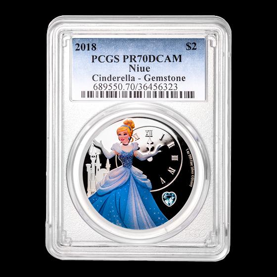 2018 Niue 1 oz Silver $2 Cinderella w/Gemstone PR-70 PCGS