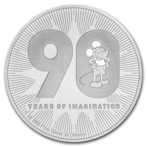 2018 Niue 1 oz Silver $2 Disney Mickey's 90th Anniversary BU