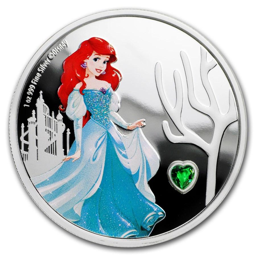 2018 Niue 1 oz Silver $2 Disney Princess Ariel w/ Gemstone
