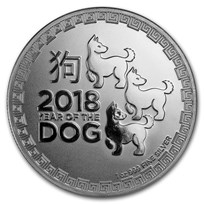 2018 Niue 1 oz Silver $2 Lunar Year of the Dog BU