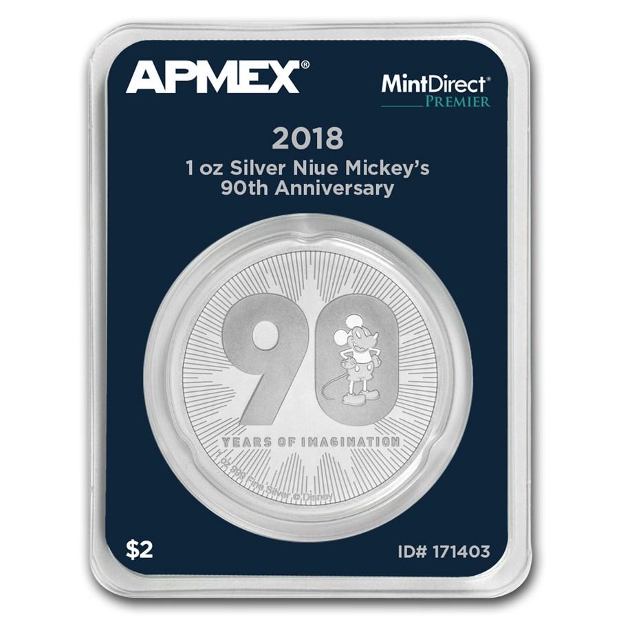 2018 Niue 1 oz Silver $2 Mickey's 90th Anniv (MD® Premier Single)