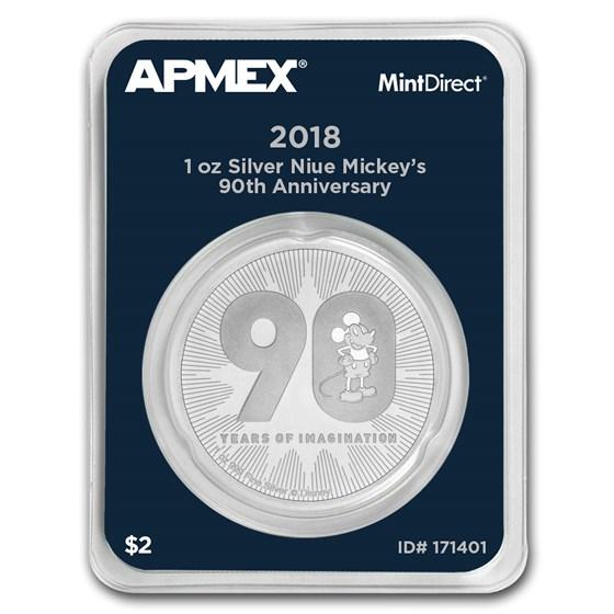 2018 Niue 1 oz Silver $2 Mickey's 90th Anniv (MintDirect® Single)