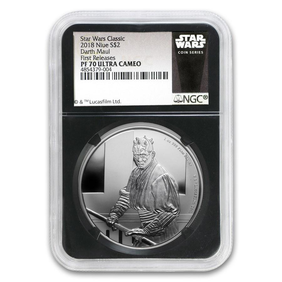 2018 Niue 1 oz Silver $2 Star Wars Darth Maul PF-70 NGC (FR)