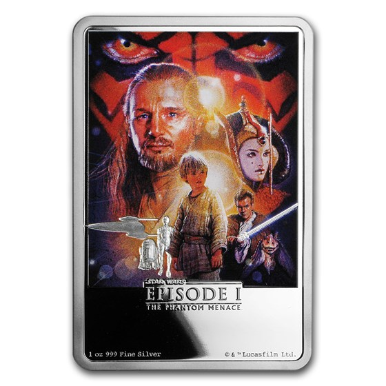 2018 Niue 1 oz Silver $2 Star Wars The Phantom Menace Poster
