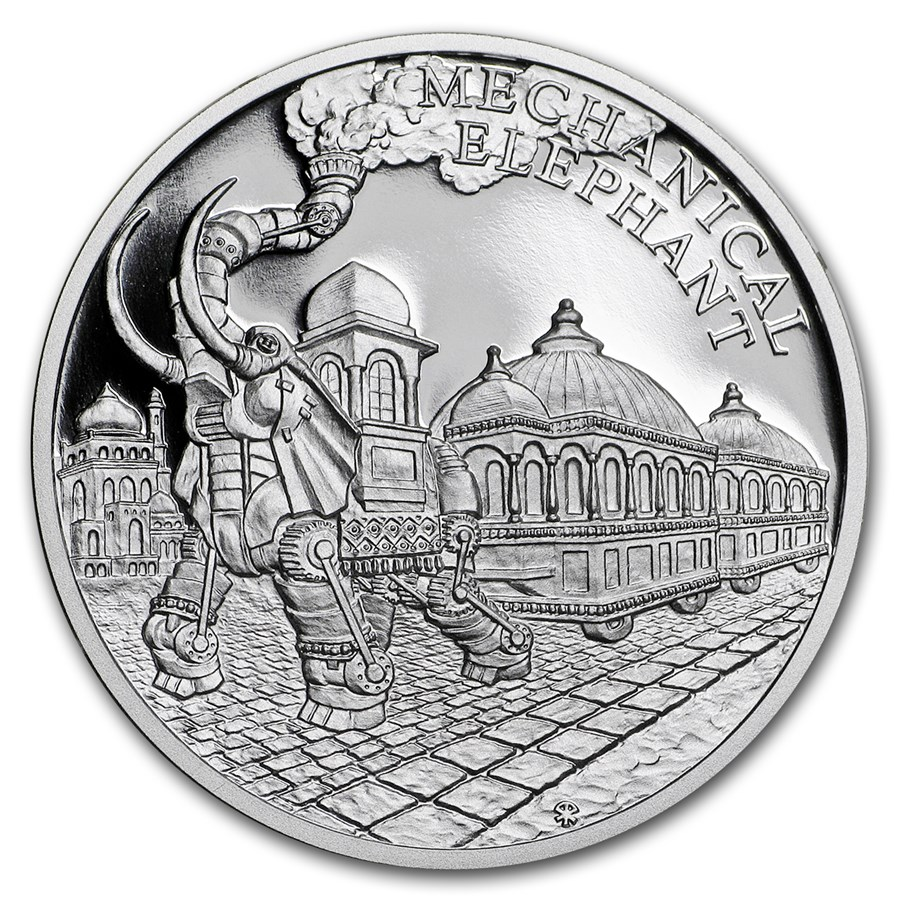 2018 Niue 1 oz Silver World of Jules Verne Steam-Powered Elephant
