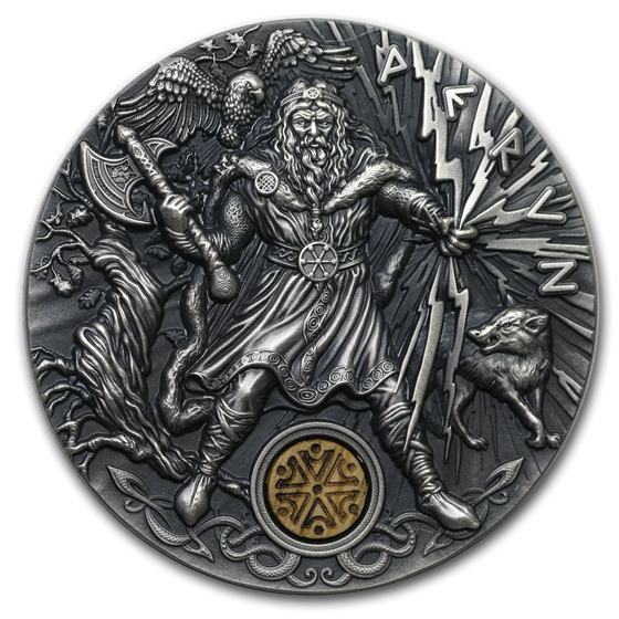 2018 Niue 2 oz Antique Silver Slavic Gods: Perun God of Thunder