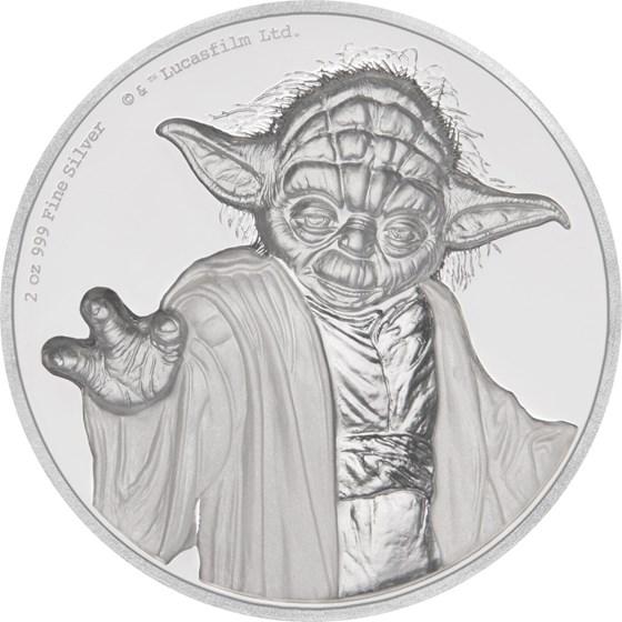 2018 Niue 2 oz Silver $5 Star Wars Yoda Ultra High Relief