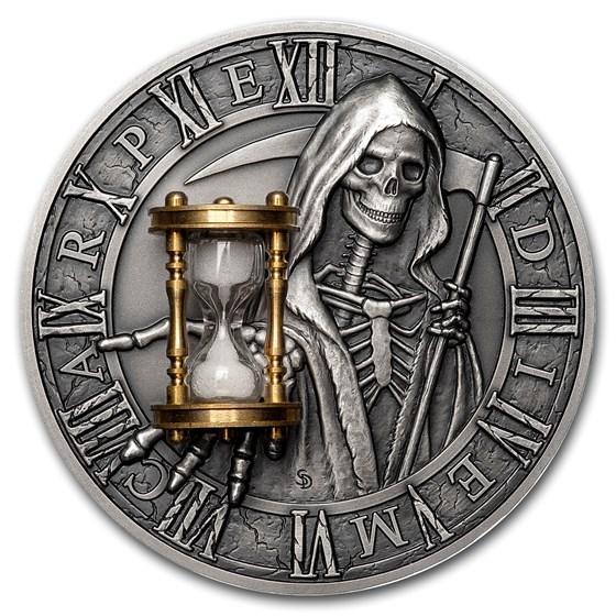 2018 Niue 2 oz Silver Antique Carpe Diem Grim Reaper