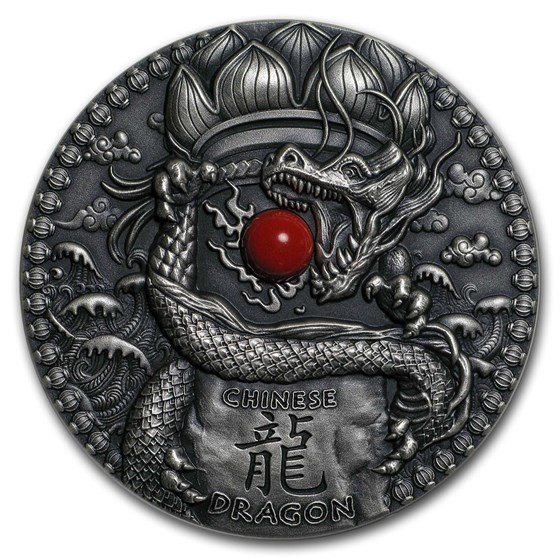 2018 Niue 2 oz Silver Antique Dragons (Chinese Dragon)