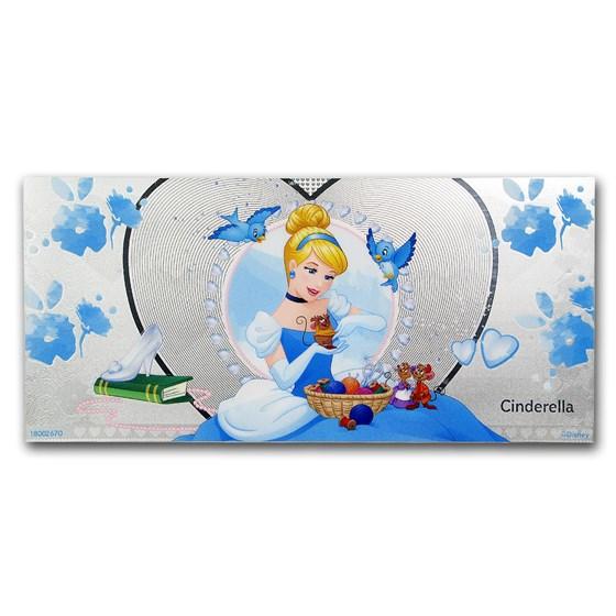 2018 Niue 5 gram Silver $1 Note Disney Cinderella w/Album
