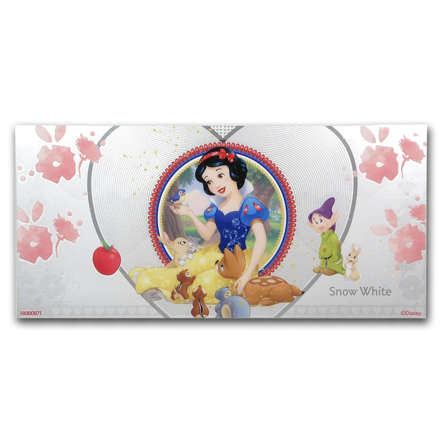 2018 Niue 5 gram Silver $1 Note Disney Princess Snow White