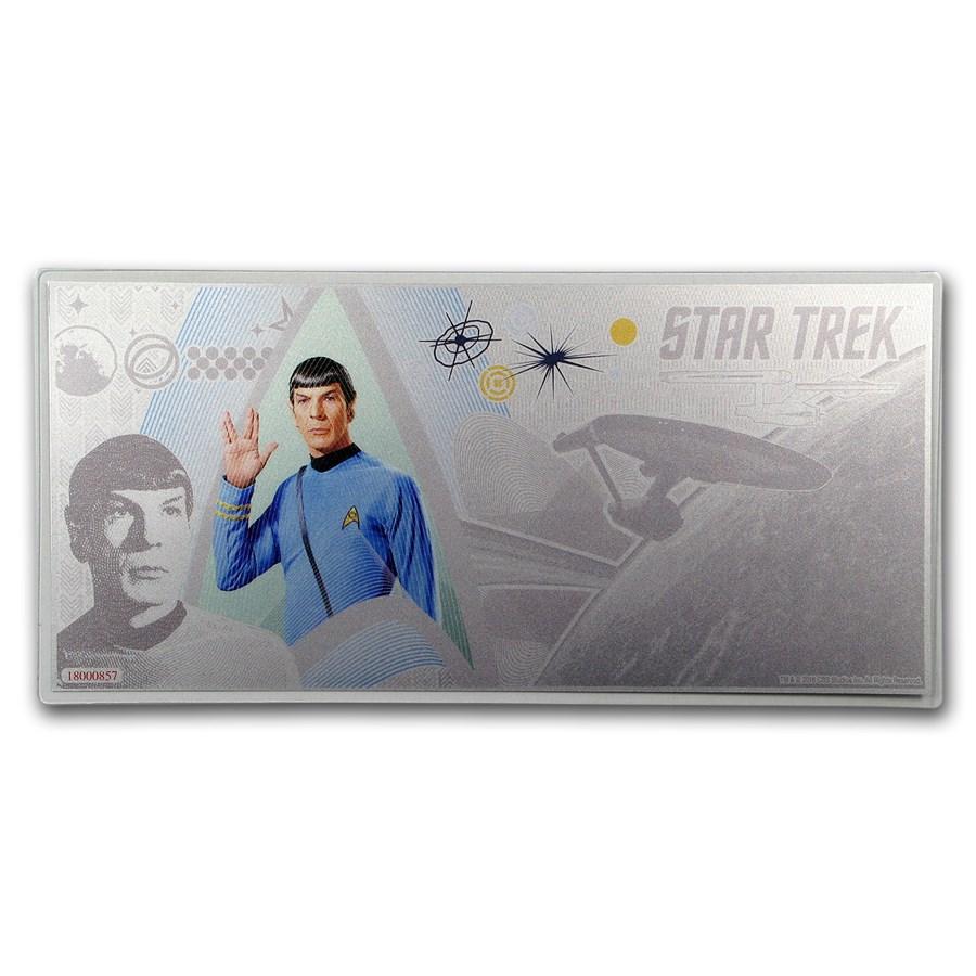 2018 Niue 5 gram Silver $1 Note Star Trek Commander Spock