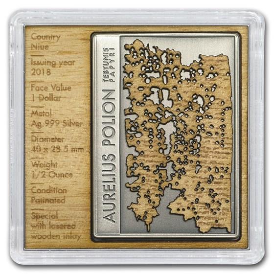 2018 Niue Silver $1 Aurelius Polion Tebtunis Papyri BU