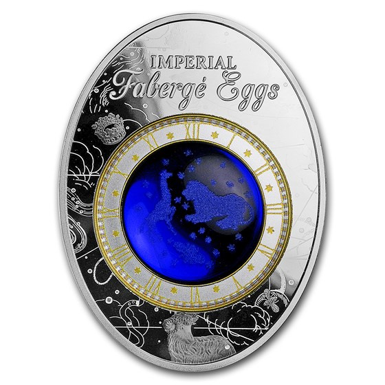 2018 Niue Silver Faberge Eggs (Blue Tsarevich Constellation)