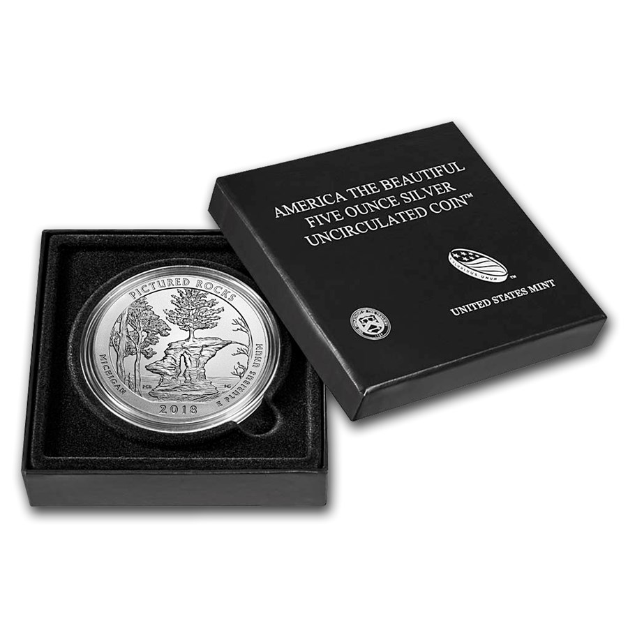 2018-P 5 oz Silver ATB Pictured Rocks (w/Box & COA)