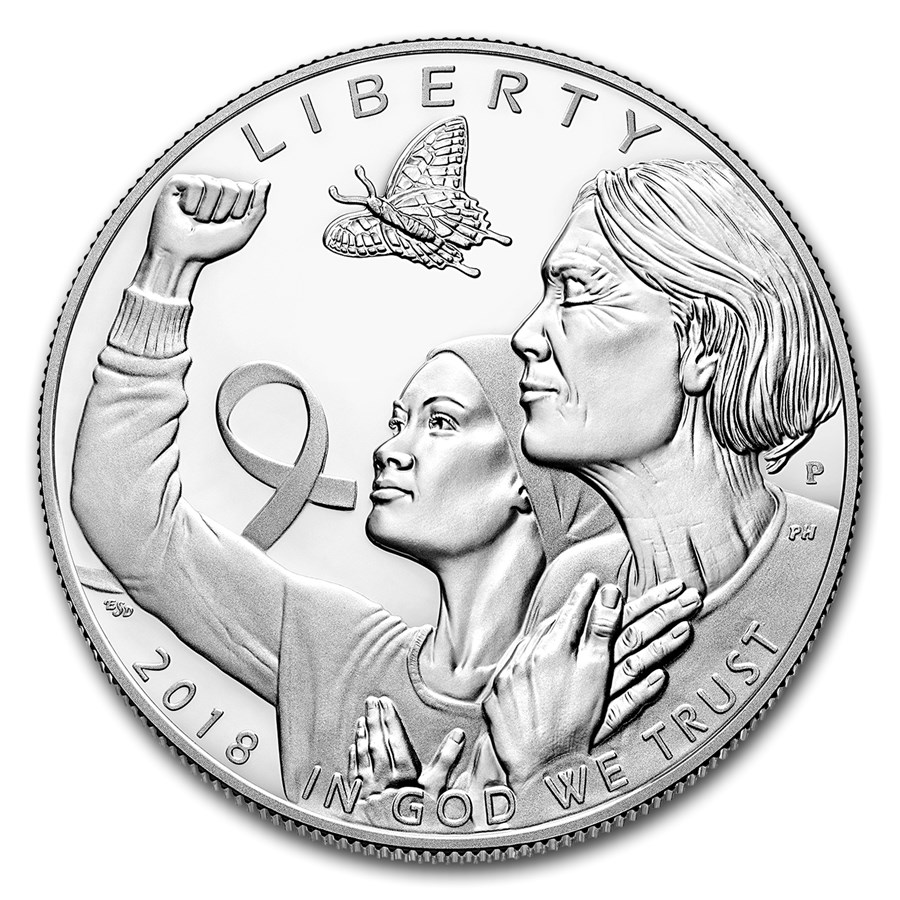 2018-P Breast Cancer Awareness $1 Silver Proof (Box & COA)