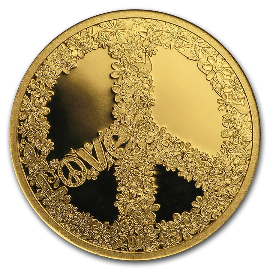 2018 Palau 1/2 gram Gold $1 Love & Peace