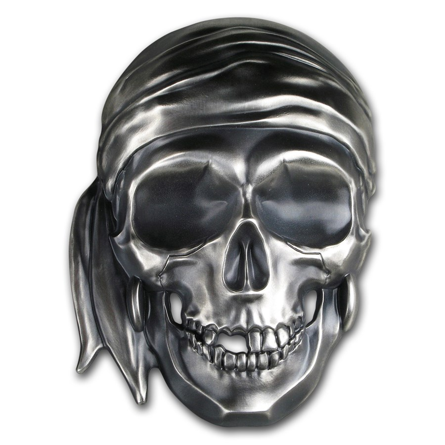 2018 Palau 1/2 Kilo Silver Antique Finish Big Pirate Skull