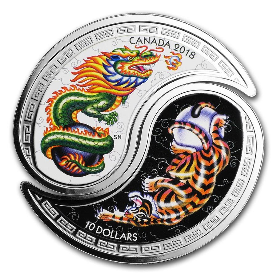 2018 RCM 1/2 oz Ag $10 Black White Yin & Yang: Tiger & Dragon Prf