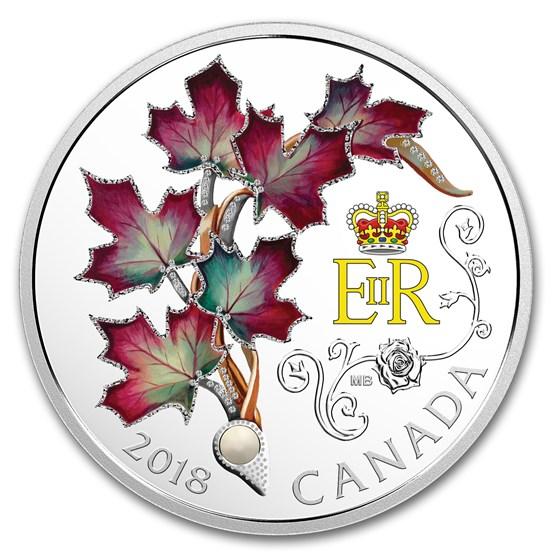 2018 RCM 1 oz Silver $20 Queen Elizabeth II's Maple Leaves Brooch