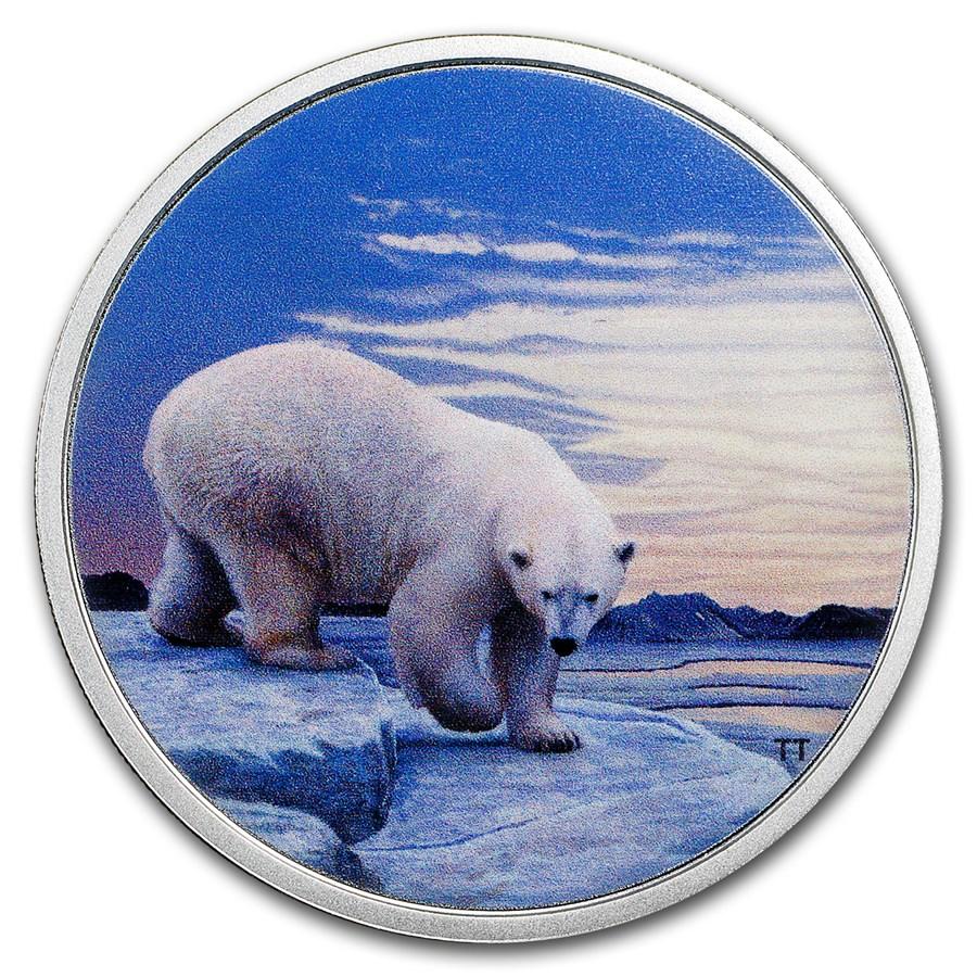 2018 RCM 2 oz Ag $30 Arctic Animals & Northern Lights Polar Bear