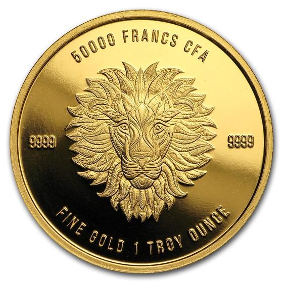 2018 Republic of Chad 1 oz Gold Mandala Lion BU