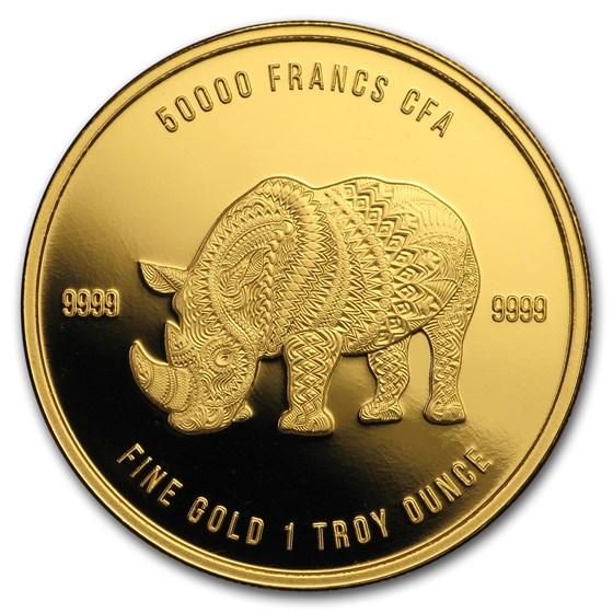 2018 Republic of Chad 1 oz Gold Mandala Rhino BU