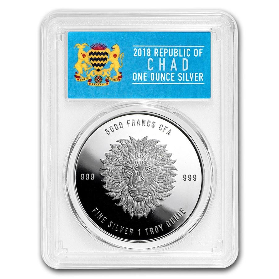 2018 Republic of Chad 1 oz Silver Mandala Lion MS-69 PCGS (FS)