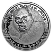 2018 Republic of Congo 1 oz Silver Silverback Gorilla (Prooflike)