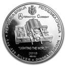 2018 ROS 1 oz Silver 100 Dinar Nikola Tesla BU (AC)