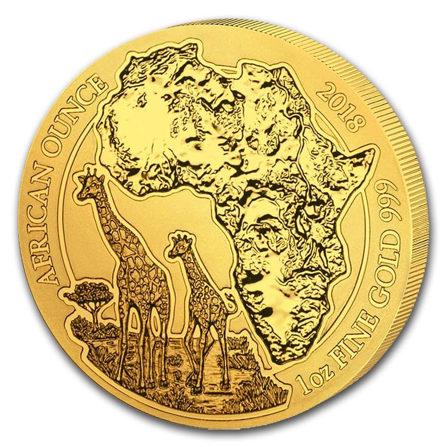 2018 Rwanda 1 oz Gold African Giraffe BU