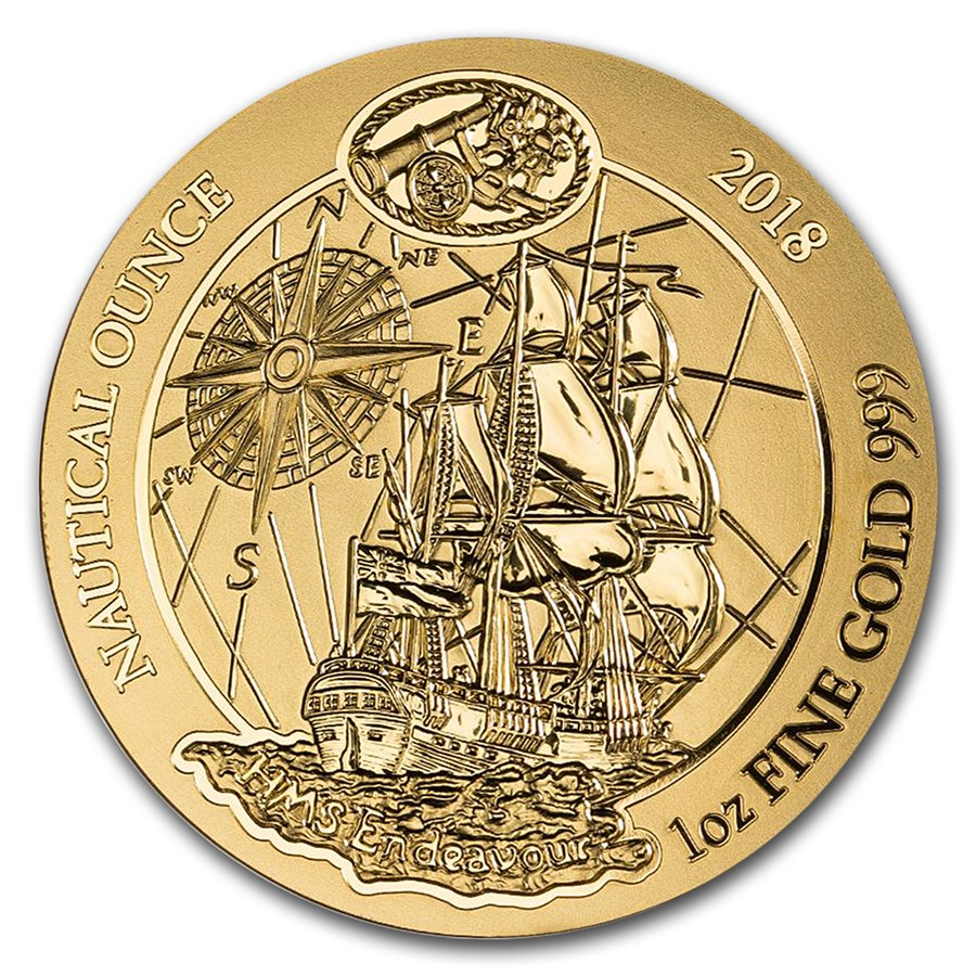 2018 Rwanda 1 oz Gold Nautical Ounce Endeavour BU