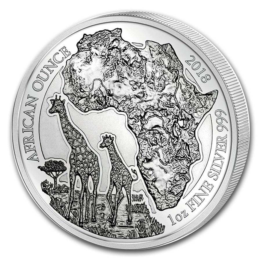 2018 Rwanda 1 oz Silver African Giraffe Proof
