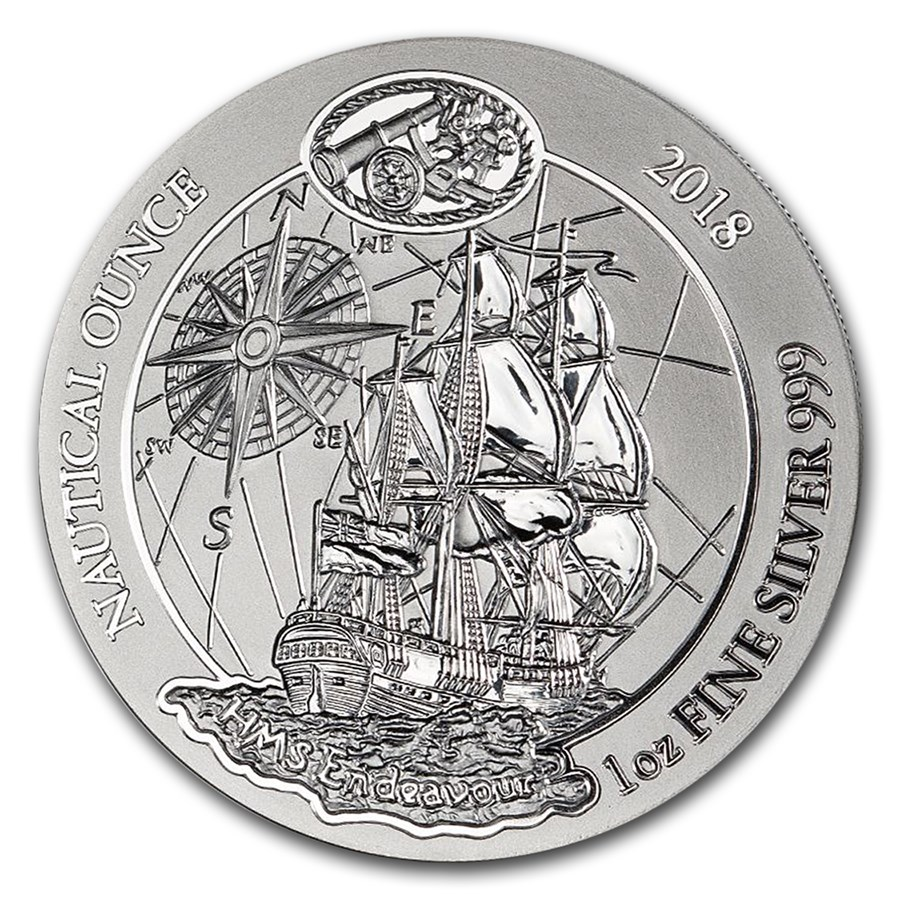 2018 Rwanda 1 oz Silver Nautical Ounce Endeavour BU