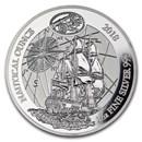 2018 Rwanda 1 oz Silver Nautical Ounce Endeavour Proof