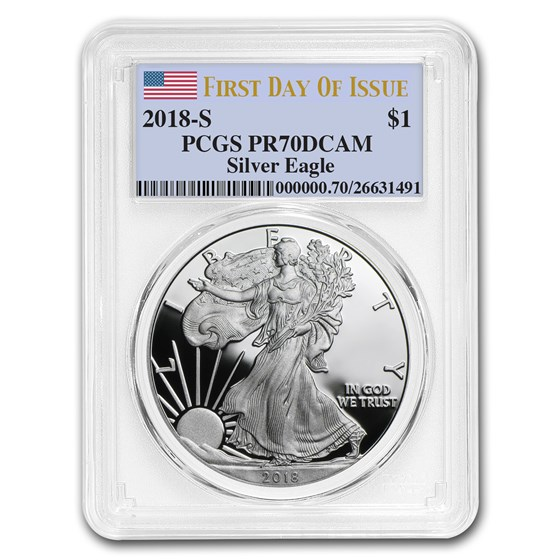 2018-S 1 oz Proof Silver American Eagle PR-70 PCGS (First Day)