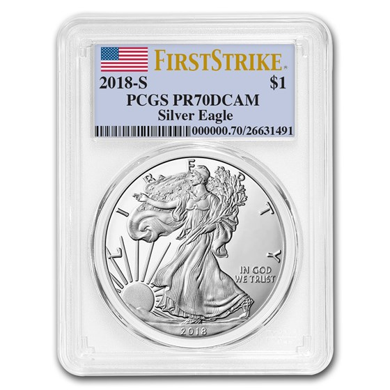 2018-S 1 oz Proof Silver American Eagle PR-70 PCGS (FirstStrike®)