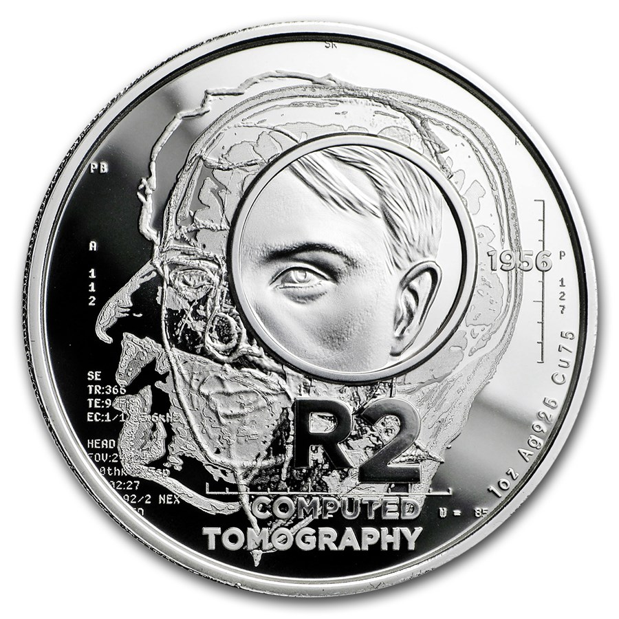 2018 S. Africa 1 oz Silver Proof South African Inventions-CT Scan