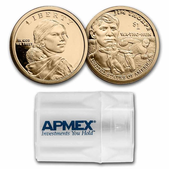 2018-S Native Amer $1 - Jim Thorpe 20-Coin Roll Gem Proof