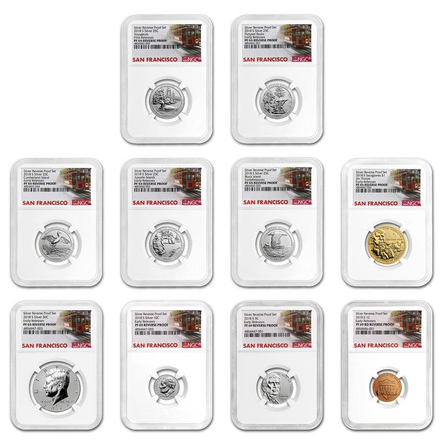 2018-S Silver Reverse Proof Set PF-69 NGC (Early Releases)