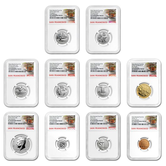 2018-S Silver Reverse Proof Set PF-70 NGC (Early Releases)