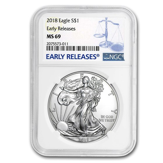 2018 Silver American Eagle MS-69 NGC (Early Release)