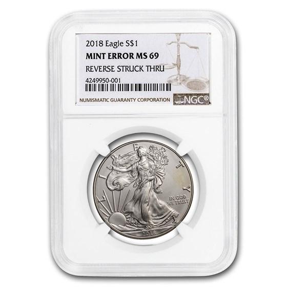 2018 Silver American Eagle MS-69 NGC (Error, Rev Struck Thru)