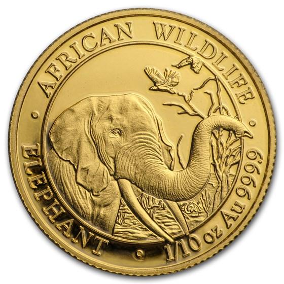 2018 Somalia 1/10 oz Gold African Elephant BU