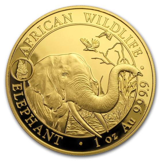 2018 Somalia 1 oz Gold African Elephant BU (Dog Privy)