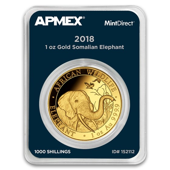 2018 Somalia 1 oz Gold African Elephant (MintDirect® Single)