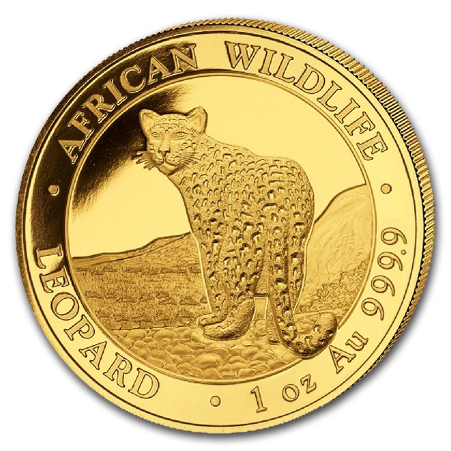 2018 Somalia 1 oz Gold African Wildlife Leopard BU