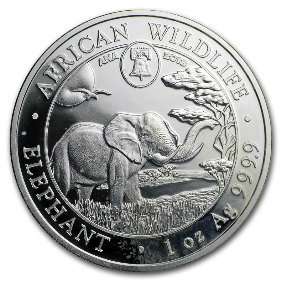 2018 Somalia 1 oz Silver Elephant (Philly ANA Privy Mark) Spots