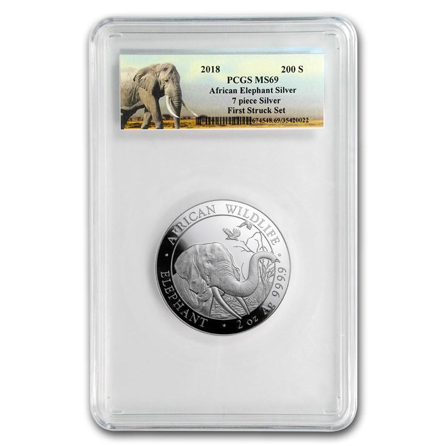2018 Somalia 2 oz Silver Elephant MS-69 PCGS (FS)